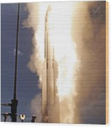 A Standard Missile 3 Is Launched Wood Print