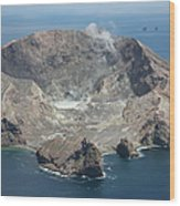 Aerial View Of White Island Volcano Wood Print
