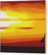 Africa Sunset Wood Print by Michal Boubin