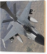 An F-16 Fighting Falcon Receives Fuel Wood Print