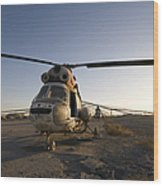 An Iraqi Helicopter Sits On The Flight Wood Print