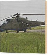 An Mi-35 Attack Helicopter At Kunduz Wood Print