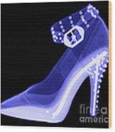 An X-ray Of A High Heel Shoe Wood Print
