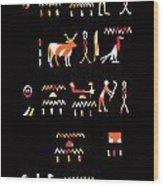Ancient Egyptian Hieroglyphs Wood Print