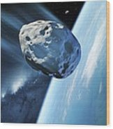 Asteroid Approaching Earth, Artwork Wood Print by Detlev Van Ravenswaay