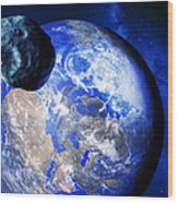 Asteroid Approaching Earth Wood Print