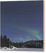 Aurora Over Vee Lake, Yellowknife Wood Print
