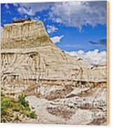 Badlands In Alberta Wood Print