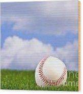 Baseball On Grass Wood Print by Richard Thomas