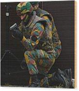 Belgian Paracommandos Entering Wood Print by Luc De Jaeger