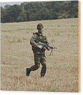 Belgian Paratroopers Proceeding Wood Print