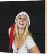 Blonde Woman With Santa Hat Wood Print