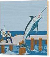 Blue Marlin Fish Jumping Retro Wood Print