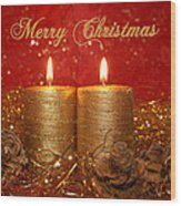 2 Candles Christmas Card Wood Print