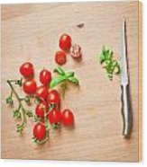 Cherry Tomatoes Wood Print by Tom Gowanlock