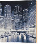 Chicago River Buildings At Night Wood Print