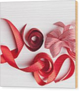 Close Up Of Decorative Red Ribbons Wood Print