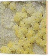 Close-up Of Yellow Salt Crystals Wood Print