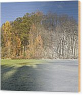 Composite Of Fall And Winter Wood Print