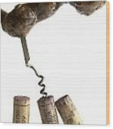 Corks Of French Wine. Wood Print by Bernard Jaubert