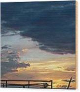 Destroyed  Pier Sea Sunset Wood Print