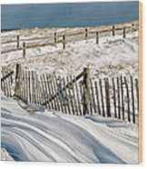 Drifting Snow Along The Beach Fences At Nauset Beach In Orleans  Wood Print
