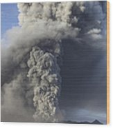 Eruption Of Ash Cloud From Mount Bromo Wood Print
