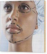 Facelift Surgery Markings Wood Print by Adam Gault