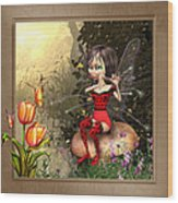 Fairy Playing The Flute Wood Print