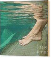 Feet Under The Water Wood Print