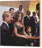 First Lady Michelle Obama Greets Wood Print