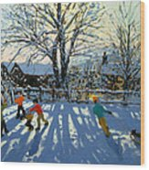 Fun In The Snow Wood Print