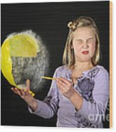 Girl Popping A Balloon Wood Print