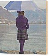 Girl With Umbrella Wood Print