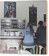 2 Girls At The Bakery Bar Wood Print by Kym Backland