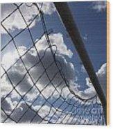 Goal Against Cloudy Sky. Wood Print