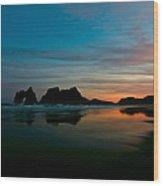 Golden Morning At A Beach  Wood Print