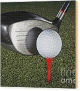 Golf Ball And Club Wood Print
