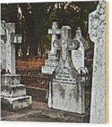 Gravestones In Graveyard Wood Print by Dave & Les Jacobs