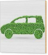 Green Car Wood Print