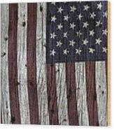 Grungy Textured Usa Flag Wood Print
