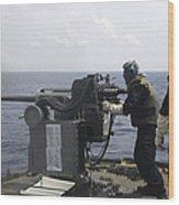 Gunner Fires A Mark 38 Machine Gun Wood Print