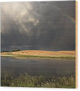 Hail Storm And Rainbow Wood Print