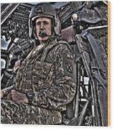 Hdr Image Of A Pilot Sitting Wood Print