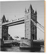 Helicopter At Tower Bridge Wood Print