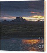 Iceland Midnight Sun Wood Print