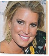 Jessica Simpson At Arrivals Wood Print by Everett