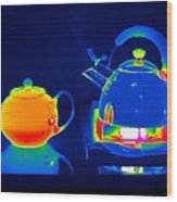 Kettle And Teapot, Thermogram Wood Print