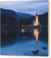 Lake Bohinj At Dusk Wood Print