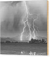 Lightning Striking Longs Peak Foothills 6 Wood Print by James BO  Insogna